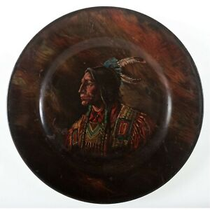c1905 TIN LITHOGRAPH ADVERTISING TRAY / PLATE NATIVE AMERICAN INDIAN SIOUX CHIEF