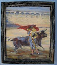 "Oil on board - Signed - Bullfighting, matador - 18"" x 21½"""