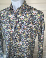 Jared Lang Sz SMALL Button Up Shirt Wild Floral Print L/S Spread Collar EUC