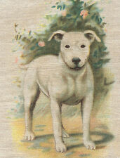Vintage/antique promotional silk piece -use in crazy quilt - Dog: Bull Terrier