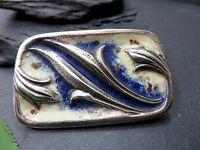 Seltene 835 Silber Brosche Jugendstil Art Deco Email Floral Ranke Pflanze Blatt