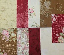 "RJR - ROBYN PANDOLPH - BOWOOD HOUSE Cream, Red, Brown Florals - 5"" Charm Squares"