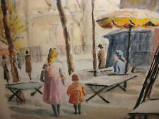 Nice vintage watercolor street scene with people signed by artist Somers