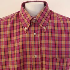 "Turrau NWOT Mens Medium  LS Red & Orange Plaid Shirt Made in Spain 44"" Chest"