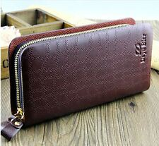 Balellerry Men's Long PU Leather Wallet Pocket Bifold Purse in Brown-S001