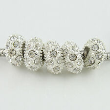 Lots Czech Crystal Silver Gold Big Hole Spacer Charm Beads for European Bracelet