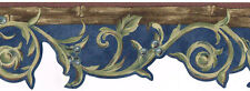 Victorian Blue Brown Green Scroll Leaf Vine Berry Bamboo Wall paper Border