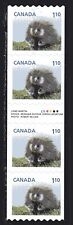 2013 Canada SC# 2605i Baby Wildlife Porcupine Gutter strip of 4 Lot# C488 M-NH