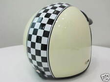 Scooter Vespa Motor Ivory helmet Checkers Racing New
