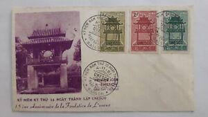 VIETNAM fdc cover 1961 Anniversary Foundation of UNESCO; temple