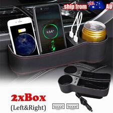 Dual USB Car Keys Phone Storage Box Seat Organizer Filler Gap Pocket Cup Holder