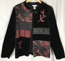 Dressbarn L Black Velvet Jacket Asian Design Mandarine Collar Red Jacquard Knot