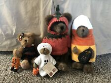 New ListingLot Of 4 Halloween / Fall Boyds Bears Plush Collectible Pumpkin Ghost Costume