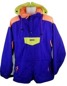 VTG Columbia Womens Purple Peach Yellow Ski Jacket Radial Sleeve Medium? Large?