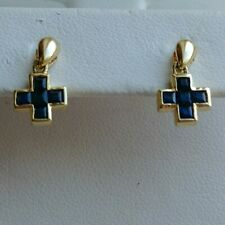 14k Solid yellow gold natural sapphire 0.80 ct cross dangle earrings