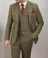 Mens Cavani Albert Brown 3 Piece Tweed Check Suit Peaky Blinders Weddings