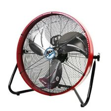Floor Fan 20in Shroud Funnel Airflow 3 Speed 120 Volt Steel Red Standalone Tilt