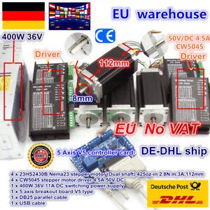 【DE】4 Axis Nema23 425oz-in Dual Shaft 112mm Stepper Motor Driver CNC Router Kit