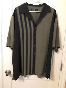 Nat Nast Button Front Shirt Mens XL Short Sleeve Silk Solid