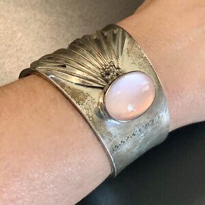 LARGE Vintage STERLING SILVER Pink Stone CUFF Bracelet