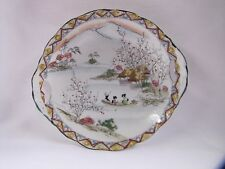 Antique Porcelain Dish Decorative Bowl River and Mountain Scene Japan