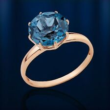 Russian Rose Gold 14k/ 585 HUGE 10mm ¢ London Blue Topaz Solitaire Ring