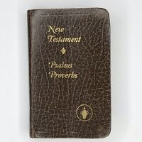 Miniature Pocket Bible New Testament Psalms Proverbs Brown Vintage Gideon