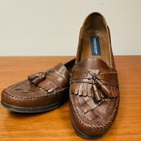 Men's Georgio Brutini Brown Woven Leather Loafers Kiltie Tassel Austin 10.5M EUC
