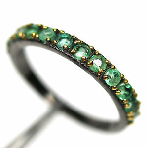 NATURAL GREEN EMERALD TWO TONE RING 925 STERLING SILVER SIZE 7