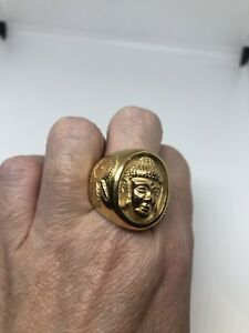Vintage Golden Buddha Stainless Steel Size 9 Ring
