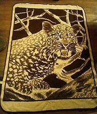 "Vintage San Marcos Bedspread Cream & Brown Leopard Jaguar Cat Blanket 63""x 86"""