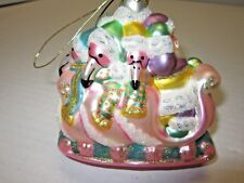 Vintage Santa with Pink Flamingos Blown Glass Christmas Tree Ornament Decorative