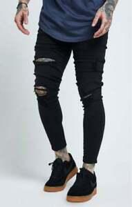 Sik Silk Mens SS14003 Black Designer Skinny Distress Destroyed Soft Denim Jeans