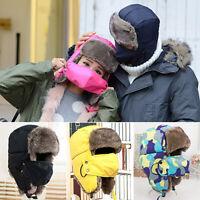 Fashion Men Women Winter Warm Trapper Ear Flap Ushanka Hat with Wind Proof Mask
