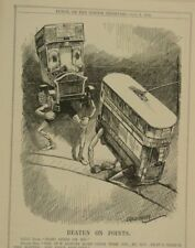 "7x10"" punch cartoon 1914 BEATEN ON POINTS lcc tram v bus"