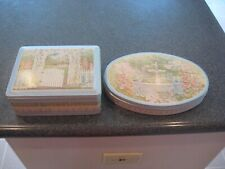 2 Monet Inspired Metal Covered Trinket Boxes Garden Gate Square-Fountain Oval