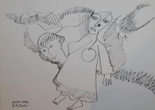 1991 - INK DRAWING ABSTRACT FUTURIST WOMAN PORTRAIT SIGNED