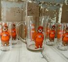 SET Vintage A & W Root Beer Pitcher And 8 Tumblers Glasses Great Root Bear EXC.