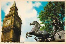 Big Ben and Boadicea Statue London England Postcard unused VGC