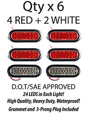 "6.5"" Inch Oval 24 LED Backup/Tail Truck Light w/ Grommet+Pigtail- 4 Red+2 White"