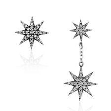 Solid 925 Sterling Silver Sparkling Zircon Star Tassel Ear Dangle Earrings NEW