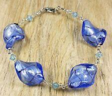 * liberté arbre * Esprit bleu feuille d'argent Murano verre Twist Bead Bracelet