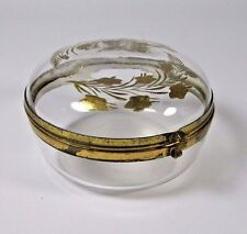 Antique Trinket Box French Glass Enameled Lidded Brass Hinged Jewelry Casket