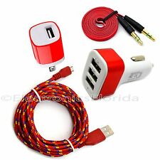 Car and Wall Charger Plus Audio & Micro USB Braided Cord Cable for Android Phone