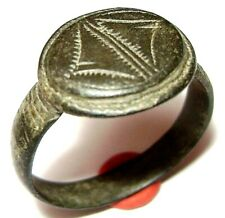 Ancient Medieval bronze finger ring with ornament.