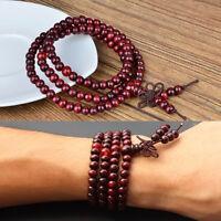 Sandelholz 6mm 108 buddhistische Gebetskette Mala Mehrschichtholz Halskette C2T2