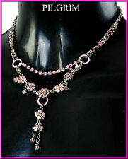 NEW PILGRIM SILVER DOUBLE CHAIN NECKLACE SWAROVSKI CRYSTALS ENAMEL FLOWERS PINK