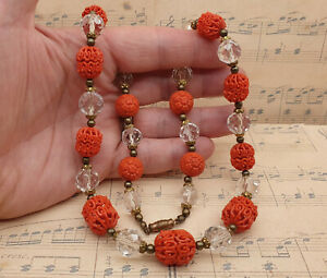 Vintage Czech Faceted Glass Bead and Unusual Early Moulded Plastic Bead Necklace