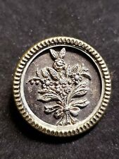 """1"""" VINTAGE BRASS BUTTON WITH FLORAL BOUQUET RELIEF"""