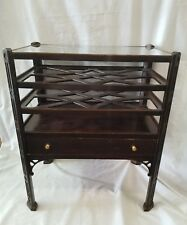 Vintage Mahogany Butler 4 Tier Table With Drawer RARE